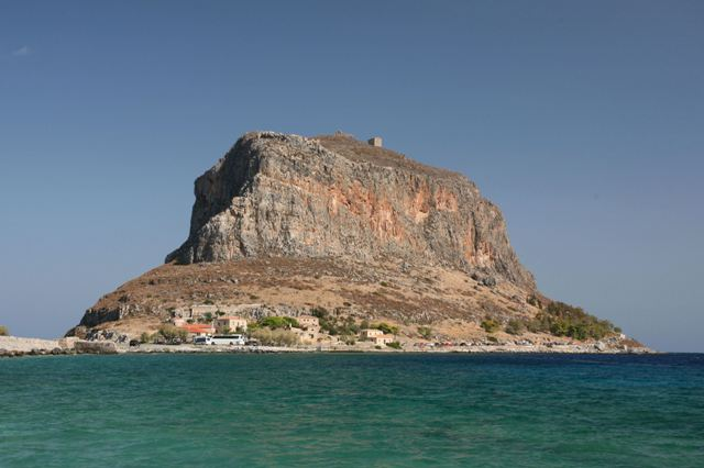 Monemvasia - The imposing rock seen from the mainland