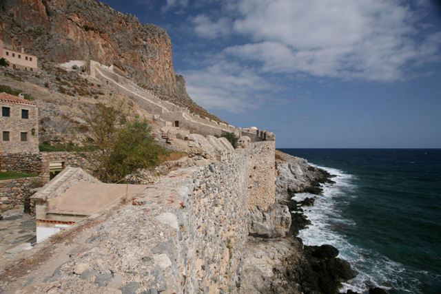 Monemvasia - Far wall and sea defences of the Lower Town