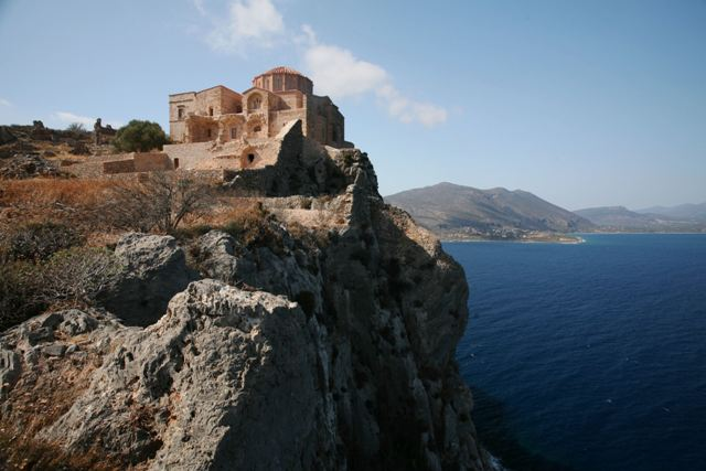 Monemvasia - Aghia Sophia overlooking the town and sea