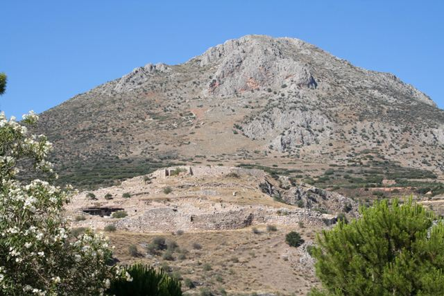 The Mycenae citadel viewed from the Treasury of Atreus