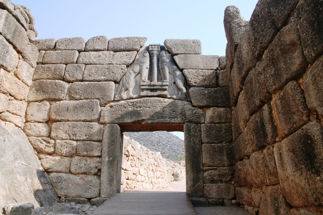 The famous 'Lion Gate' entrance to Mycenae