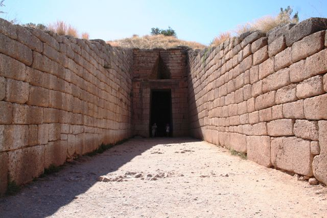 The grand entrance to the Treasury of Atreus