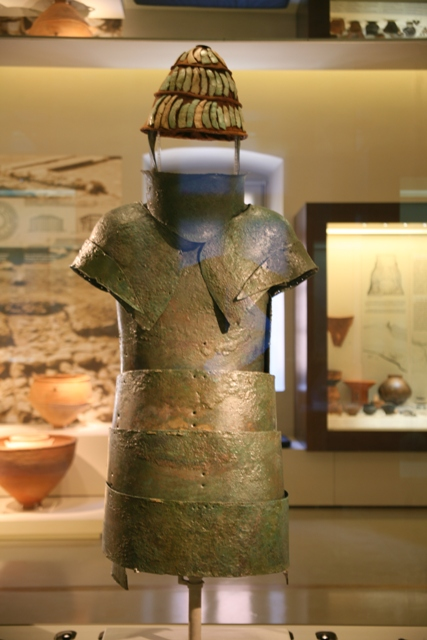 Nafplio - Mycenaean bronze suit of armour with boars' tusks helmet