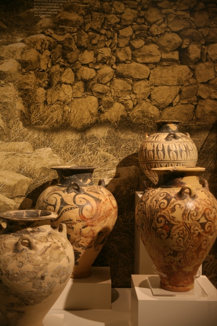 Large vases originally found in a tholos tomb near Arcadiko