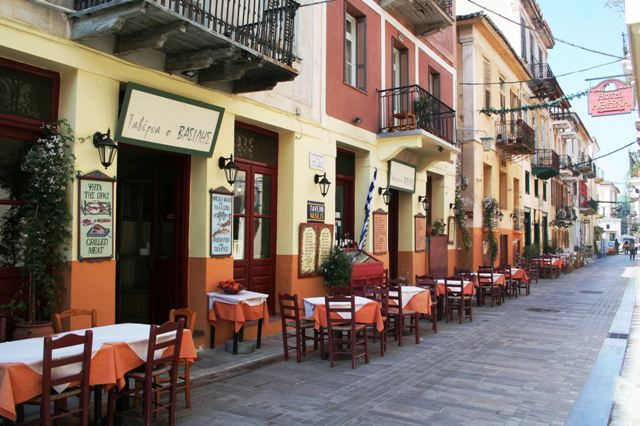 Nafplio - The 'avenue' of tavernas above Syntagma square