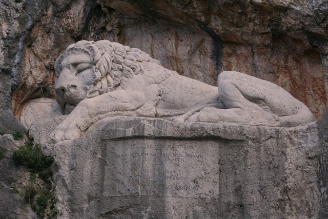 Close up of the 'Sleeping Lion' and inscription by Siegel