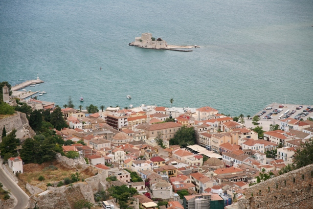 Nafplio - View of the old town and Bourtzi fortress from Palamidi