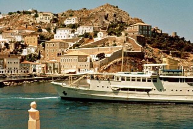 'Neraida' entering Hydra harbour in the late 1960's