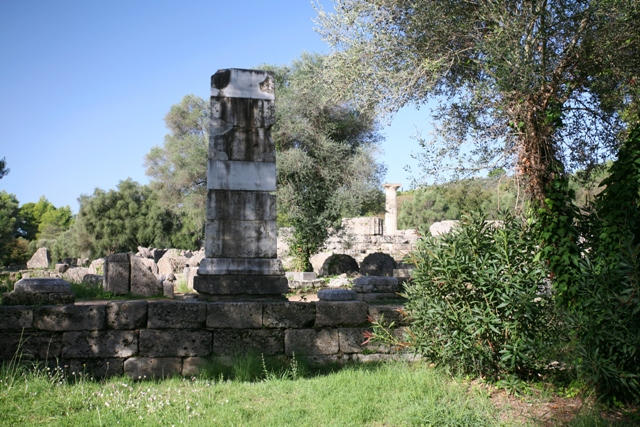 Ancient Olympia - Plinth of the Nike statue