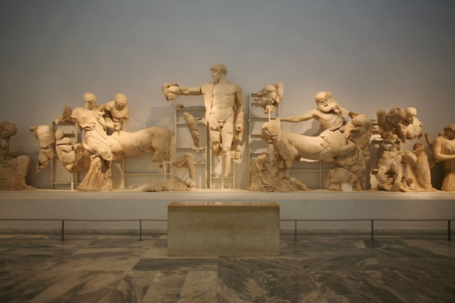 Ancient Olympia Museum - West pediment from the temple of Zeus