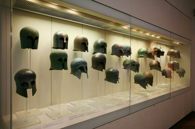Ancient Olympia Museum - Bronze Corinthian style helmets