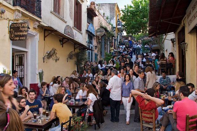 Athens - Plaka tavernas by night