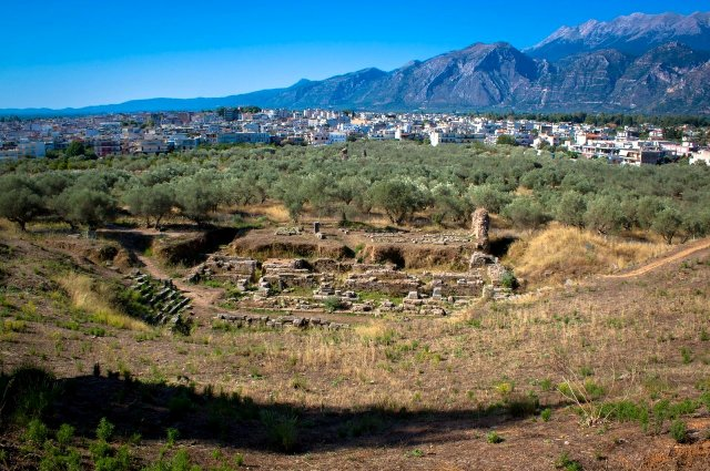 Acropolis of ancient Sparta - Theatre and Mount Taygetos