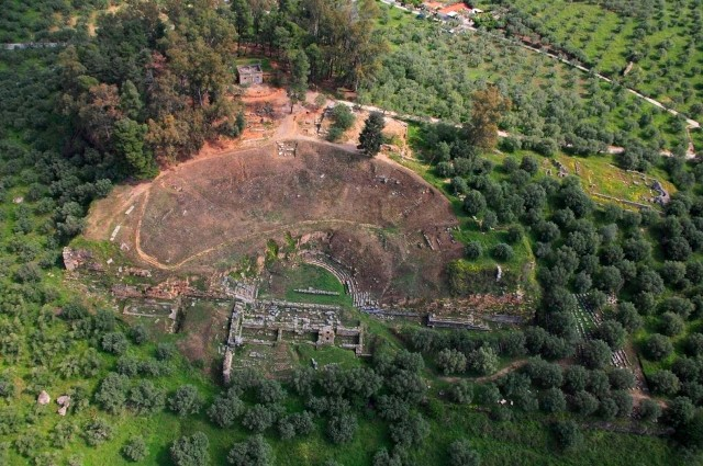 Acropolis of ancient Sparta - Aerial view of the theatre area