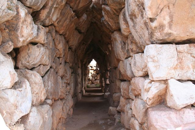 The well preserved Eastern gallery of Tiryns
