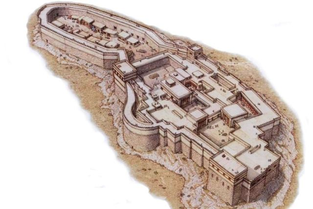 Artist drawing of the citadel of Tiryns - 1250 BC